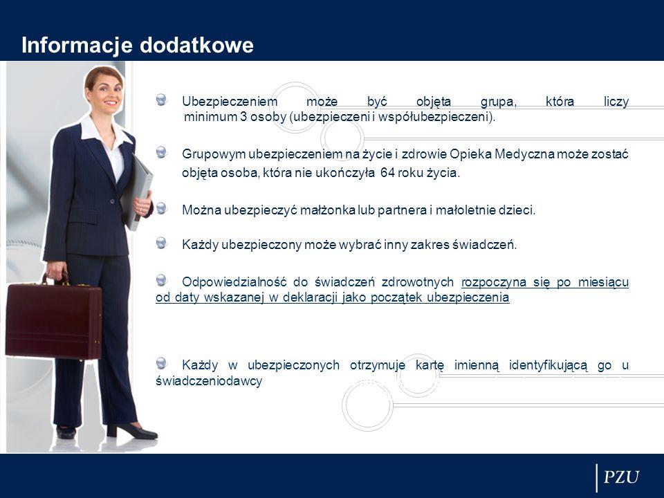 Informacje dodatkowe Ubezpieczeniem może być objęta grupa, która liczy minimum 3 osoby (ubezpieczeni i współubezpieczeni). Grupowym ubezpieczeniem na