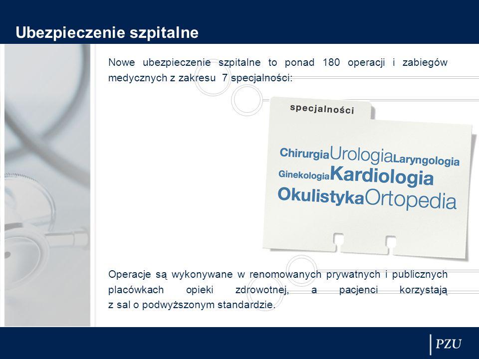 Nowe ubezpieczenie szpitalne to ponad 180 operacji i zabiegów medycznych z zakresu 7 specjalności: Operacje są wykonywane w renomowanych prywatnych i