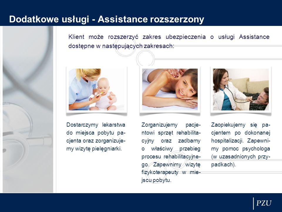Dodatkowe usługi - Assistance rozszerzony Klient może rozszerzyć zakres ubezpieczenia o usługi Assistance dostępne w następujących zakresach: Dostarczymy lekarstwa do miejsca pobytu pa- cjenta oraz zorganizuje- my wizytę pielęgniarki.