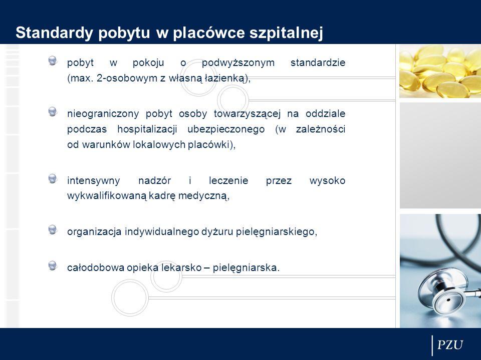 Standardy pobytu w placówce szpitalnej pobyt w pokoju o podwyższonym standardzie (max. 2-osobowym z własną łazienką), nieograniczony pobyt osoby towar