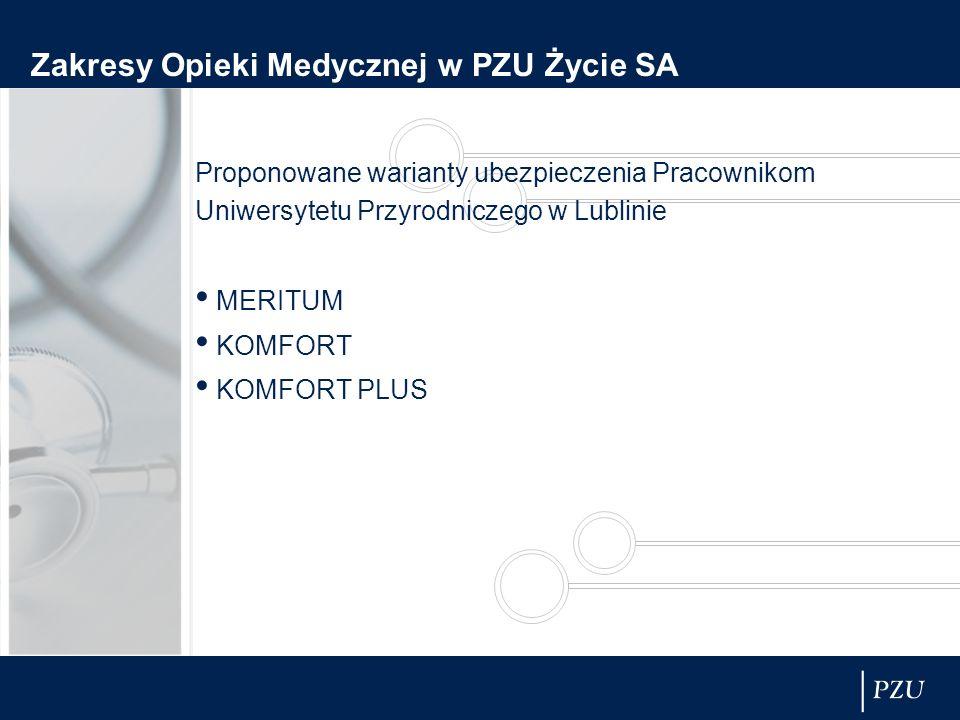 Zakresy Opieki Medycznej w PZU Życie SA Proponowane warianty ubezpieczenia Pracownikom Uniwersytetu Przyrodniczego w Lublinie MERITUM KOMFORT KOMFORT PLUS