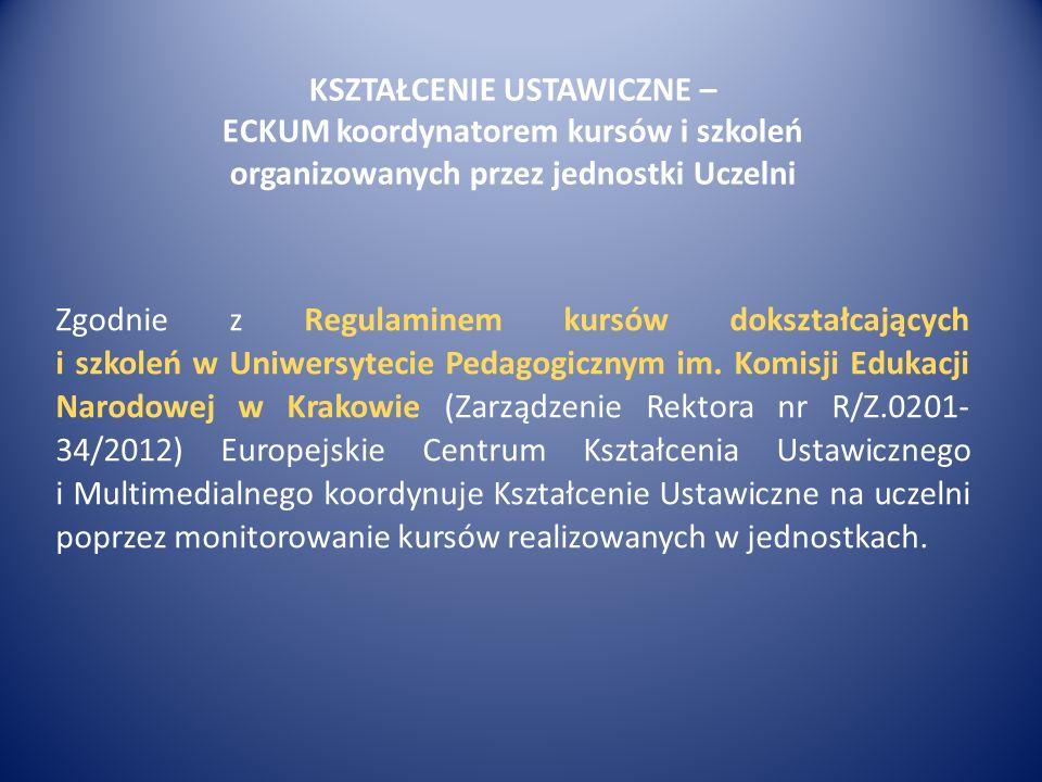 KSZTAŁCENIE USTAWICZNE – ECKUM koordynatorem kursów i szkoleń organizowanych przez jednostki Uczelni Zgodnie z Regulaminem kursów dokształcających i szkoleń w Uniwersytecie Pedagogicznym im.