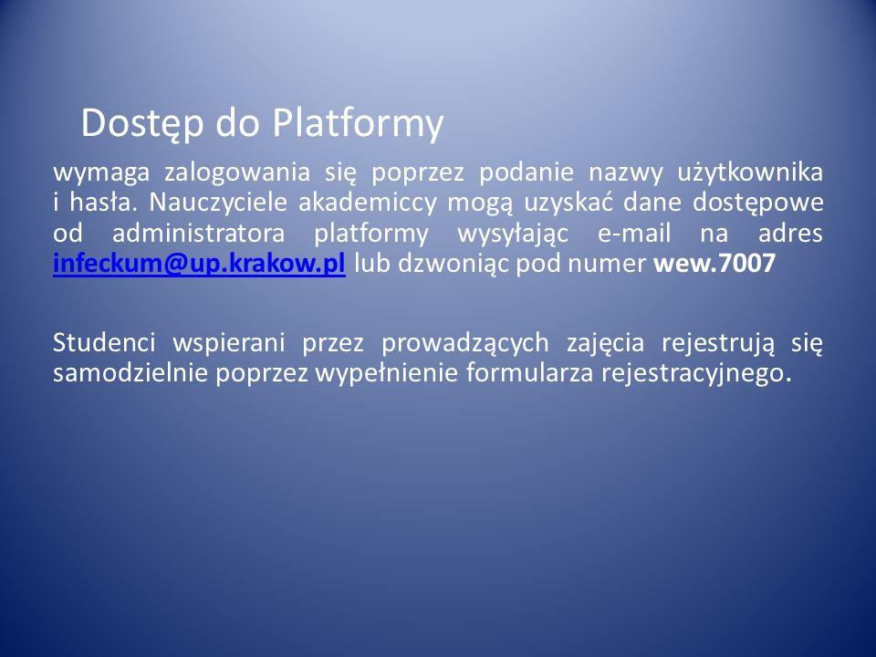 Dostęp do Platformy wymaga zalogowania się poprzez podanie nazwy użytkownika i hasła.