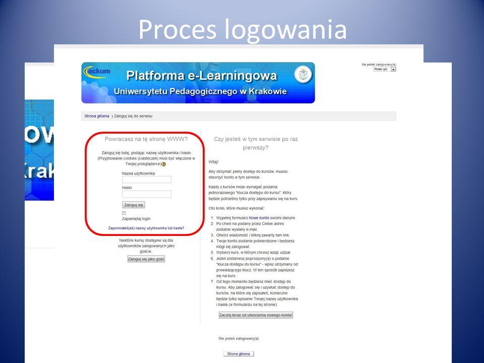 Dostęp do Platformy wymaga zalogowania się poprzez podanie nazwy użytkownika i hasła. Nauczyciele akademiccy mogą uzyskać dane dostępowe od administra