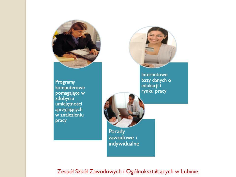 Programy komputerowe pomagające w zdobyciu umiejętności sprzyjających w znalezieniu pracy Internetowe bazy danych o edukacji i rynku pracy Porady zawo