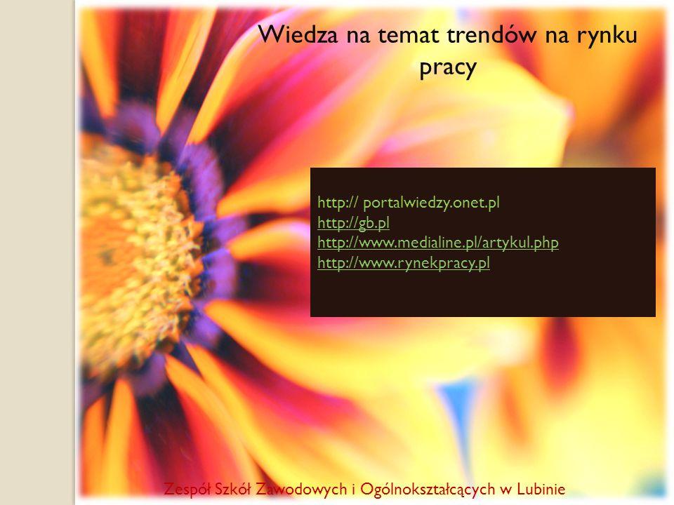Wiedza na temat trendów na rynku pracy http:// portalwiedzy.onet.pl http://gb.pl http://www.medialine.pl/artykul.php http://www.rynekpracy.pl Zespół S
