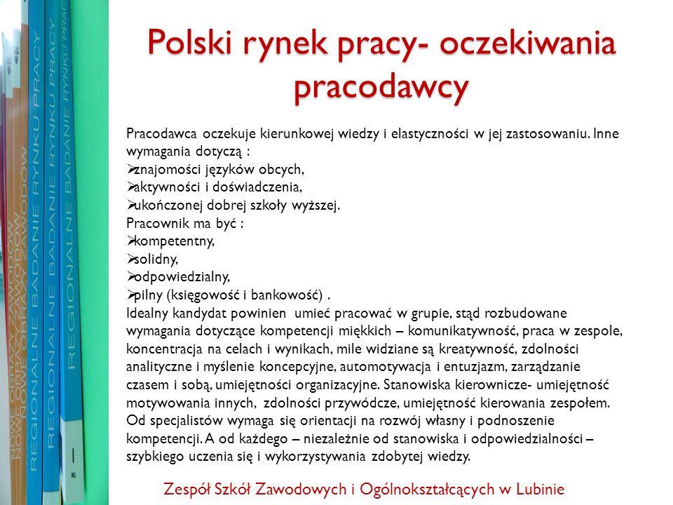 Polski rynek pracy- oczekiwania pracodawcy Pracodawca oczekuje kierunkowej wiedzy i elastyczności w jej zastosowaniu. Inne wymagania dotyczą : znajomo