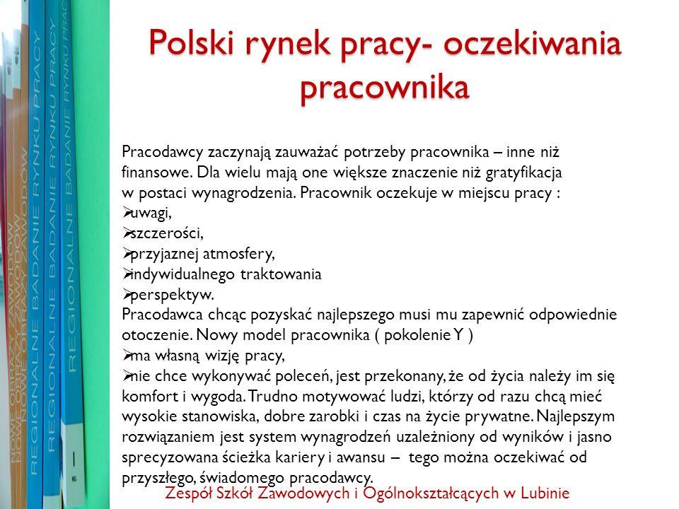 Polski rynek pracy- oczekiwania pracownika Pracodawcy zaczynają zauważać potrzeby pracownika – inne niż finansowe. Dla wielu mają one większe znaczeni
