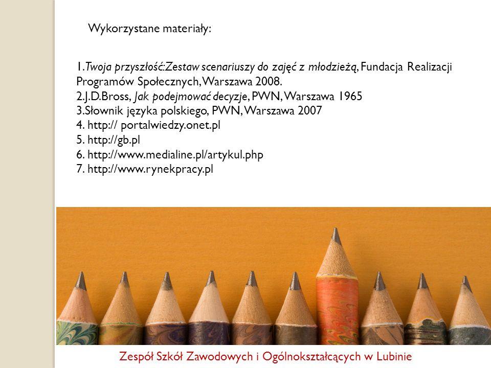 Wykorzystane materiały: 1.Twoja przyszłość:Zestaw scenariuszy do zajęć z młodzieżą, Fundacja Realizacji Programów Społecznych, Warszawa 2008. 2.J.D.Br
