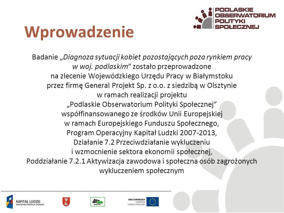 Wprowadzenie Badanie Diagnoza sytuacji kobiet pozostających poza rynkiem pracy w woj. podlaskim zostało przeprowadzone na zlecenie Wojewódzkiego Urzęd