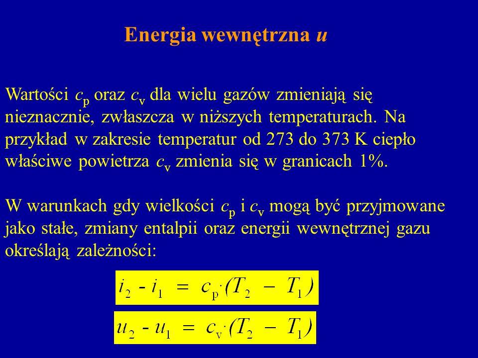 Energia wewnętrzna u Wartości c p oraz c v dla wielu gazów zmieniają się nieznacznie, zwłaszcza w niższych temperaturach. Na przykład w zakresie tempe