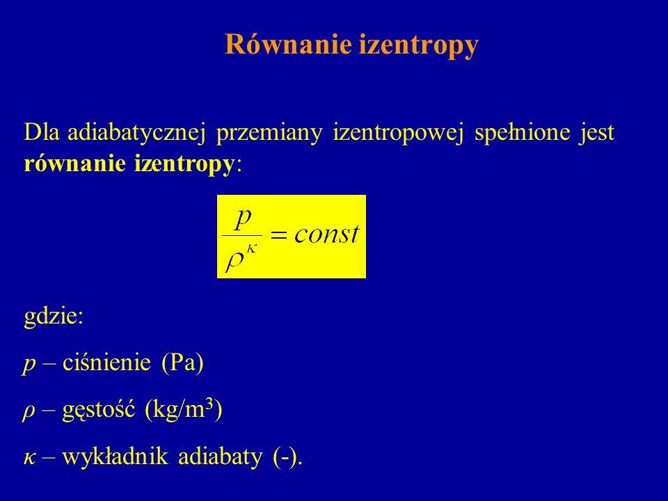 Równanie izentropy Dla adiabatycznej przemiany izentropowej spełnione jest równanie izentropy: gdzie: p – ciśnienie (Pa) ρ – gęstość (kg/m 3 ) κ – wyk