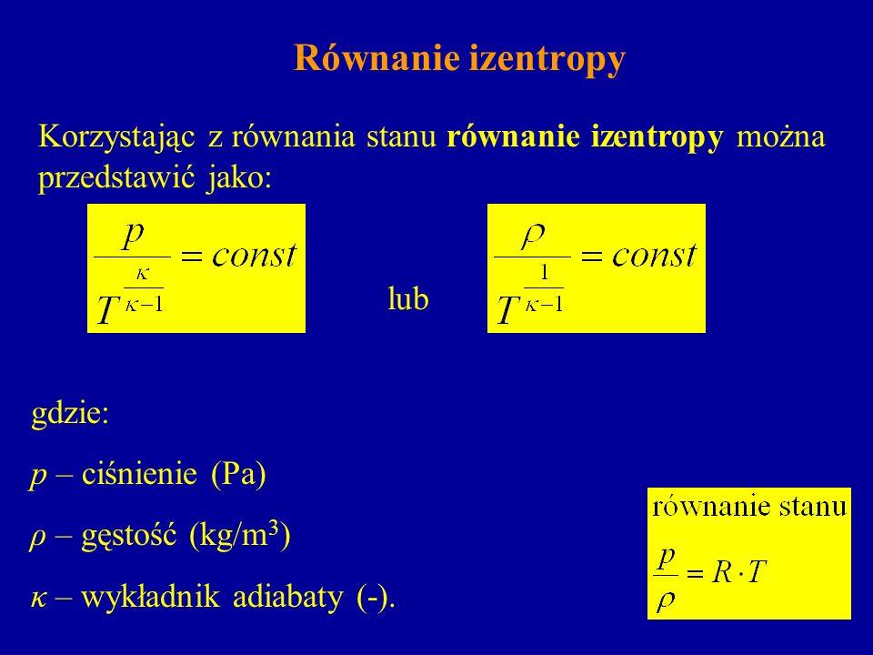 Równanie izentropy Korzystając z równania stanu równanie izentropy można przedstawić jako: lub gdzie: p – ciśnienie (Pa) ρ – gęstość (kg/m 3 ) κ – wyk