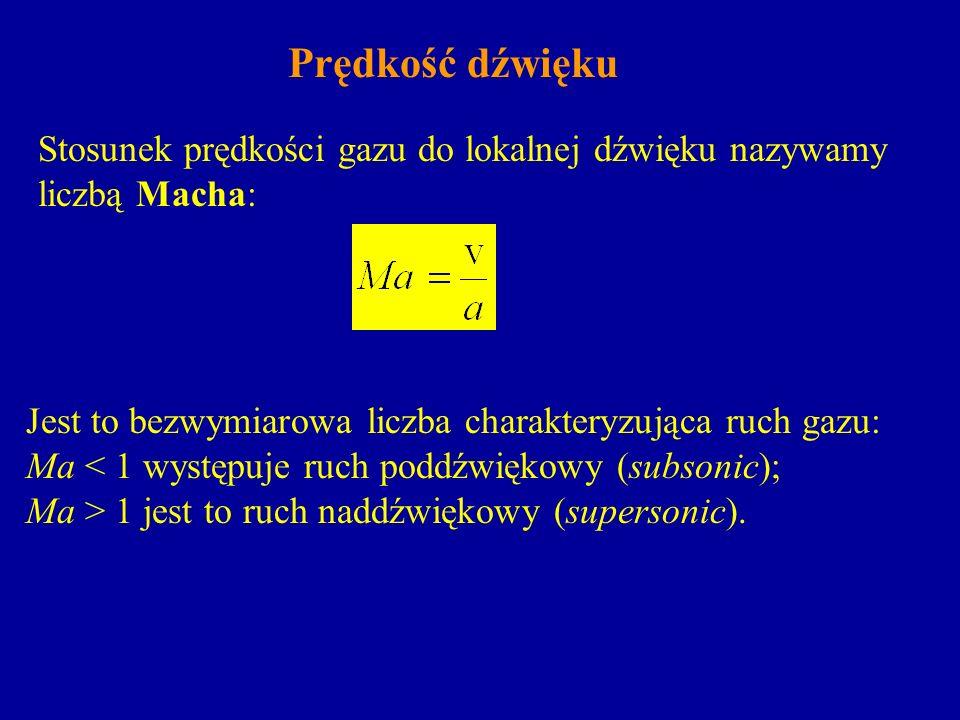 Prędkość dźwięku Stosunek prędkości gazu do lokalnej dźwięku nazywamy liczbą Macha: Jest to bezwymiarowa liczba charakteryzująca ruch gazu: Ma < 1 wys