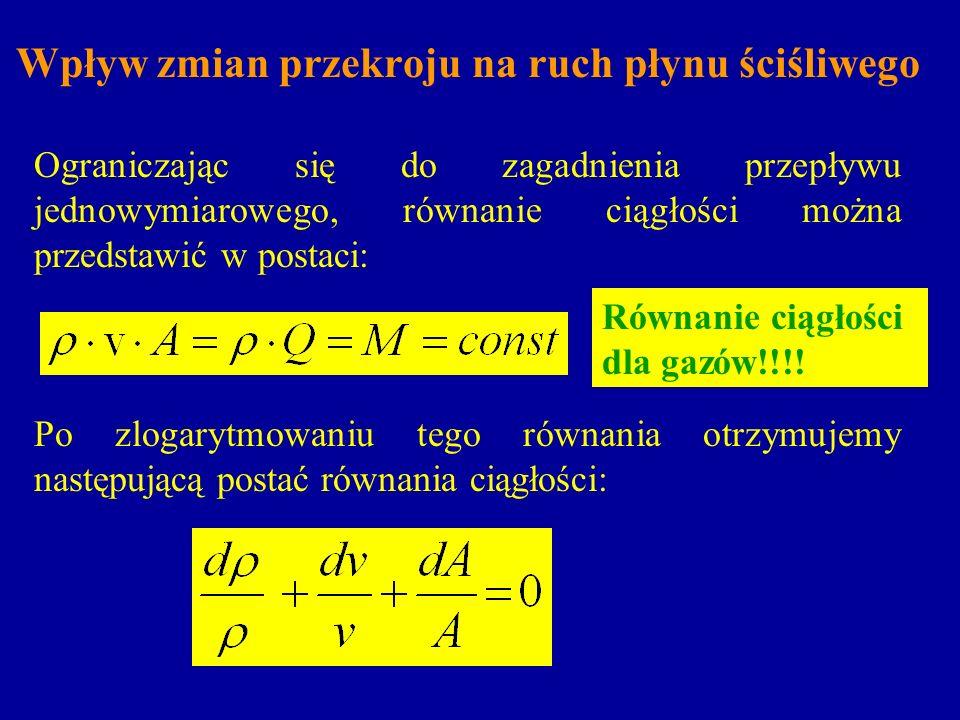 Wpływ zmian przekroju na ruch płynu ściśliwego Ograniczając się do zagadnienia przepływu jednowymiarowego, równanie ciągłości można przedstawić w post
