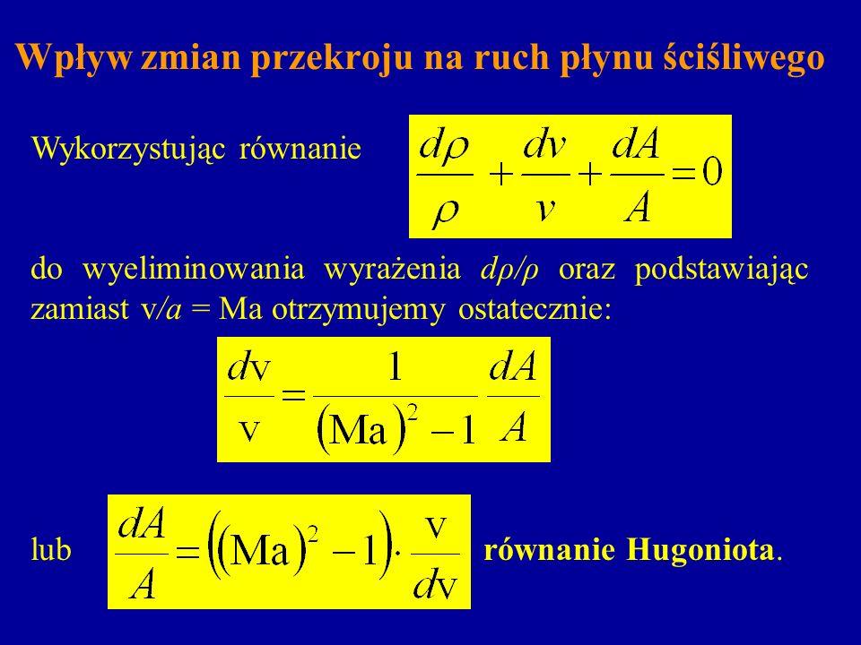 Wpływ zmian przekroju na ruch płynu ściśliwego Wykorzystując równanie do wyeliminowania wyrażenia dρ/ρ oraz podstawiając zamiast v/a = Ma otrzymujemy