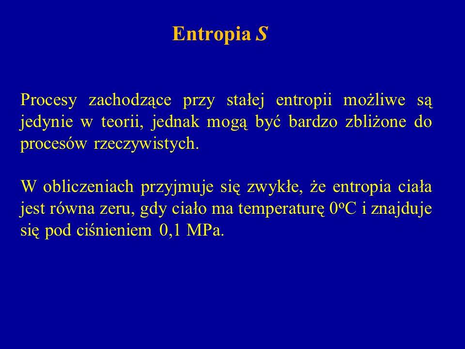 Entropia S Procesy zachodzące przy stałej entropii możliwe są jedynie w teorii, jednak mogą być bardzo zbliżone do procesów rzeczywistych. W obliczeni