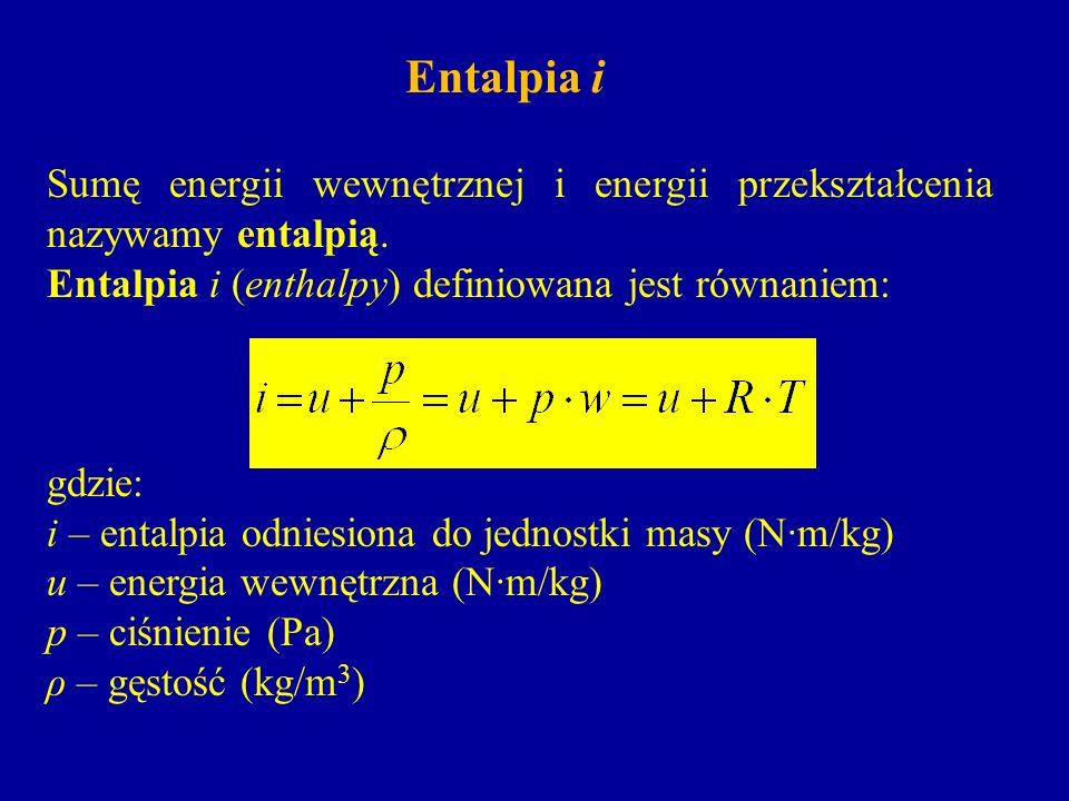 Entalpia i Sumę energii wewnętrznej i energii przekształcenia nazywamy entalpią. Entalpia i (enthalpy) definiowana jest równaniem: gdzie: i – entalpia