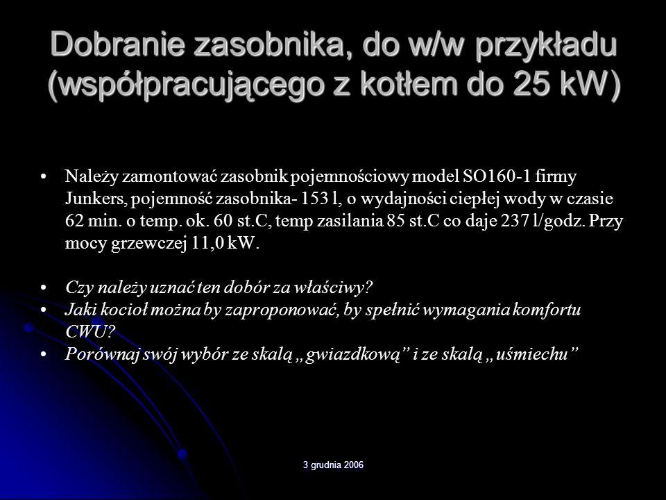3 grudnia 2006 Dobranie zasobnika, do w/w przykładu (współpracującego z kotłem do 25 kW) Należy zamontować zasobnik pojemnościowy model SO160-1 firmy