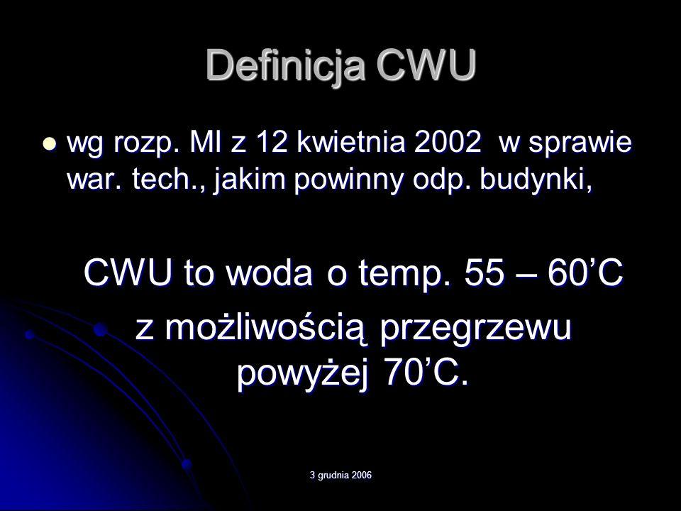 3 grudnia 2006 Energia potrzebna do podgrzania wody, przykład średnie godzinowe zapotrzebowanie na CWU l/h (q hmax /1000)q hmax =0,2m3/h ciepło właściwe wodyCw=Cw=4,2 kJ/(kg*st.C) gęstość wodyg=1000kg/m3 temperatura wody ciepłejtc=tc=60st.C temperatura wody zimnejtz=tz=10st.C obliczeniowa moc cieplna urządzenia podgrzewającego CWUP=34112kJ 1W = 1J/s dla 1 godz.= 3600s to P/3600 więc-P=9,5kW
