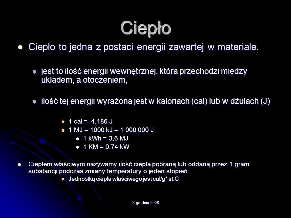 3 grudnia 2006 Ciepło Ciepło to jedna z postaci energii zawartej w materiale. Ciepło to jedna z postaci energii zawartej w materiale. jest to ilość en