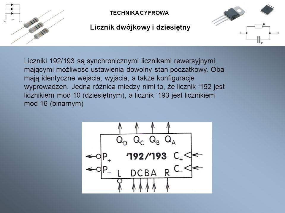 TECHNIKA CYFROWA Licznik binarny i dziesiętny TECHNIKA CYFROWA Liczniki 192/193 są synchronicznymi licznikami rewersyjnymi, mającymi możliwość ustawie