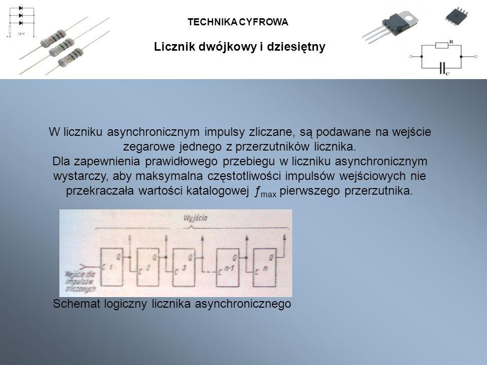 TECHNIKA CYFROWA Schemat logiczny licznika asynchronicznego W liczniku asynchronicznym impulsy zliczane, są podawane na wejście zegarowe jednego z prz