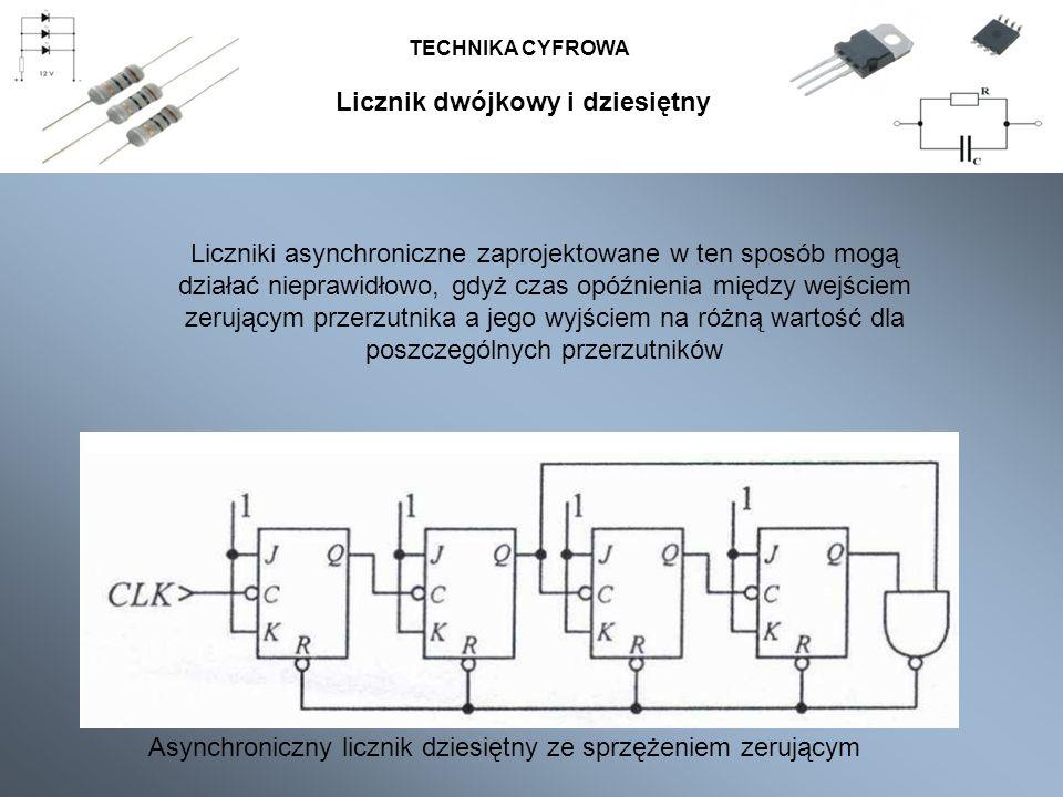 TECHNIKA CYFROWA Asynchroniczny licznik dziesiętny ze sprzężeniem zerującym Liczniki asynchroniczne zaprojektowane w ten sposób mogą działać nieprawid