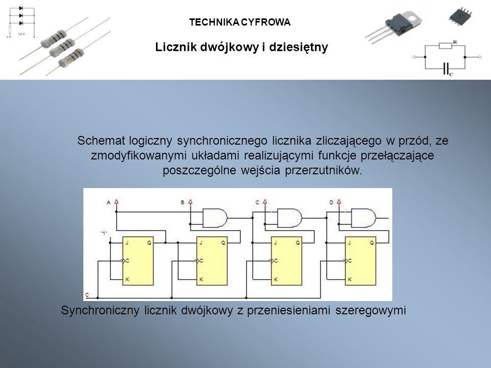 TECHNIKA CYFROWA Schemat logiczny synchronicznego licznika zliczającego w przód, ze zmodyfikowanymi układami realizującymi funkcje przełączające poszc