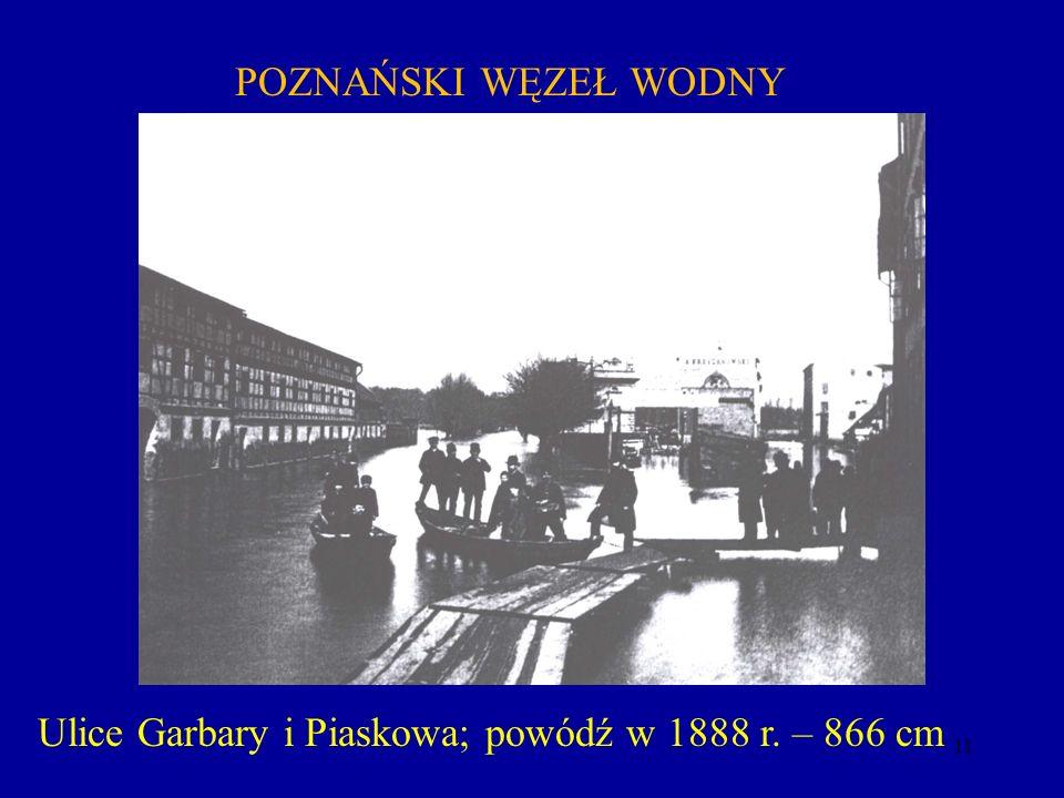 11 Ulice Garbary i Piaskowa; powódź w 1888 r. – 866 cm POZNAŃSKI WĘZEŁ WODNY