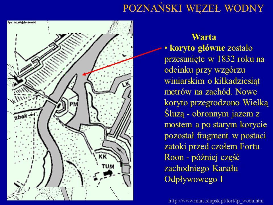 http://www.mars.slupsk.pl/fort/tp_woda.htm POZNAŃSKI WĘZEŁ WODNY Warta koryto główne zostało przesunięte w 1832 roku na odcinku przy wzgórzu winiarski