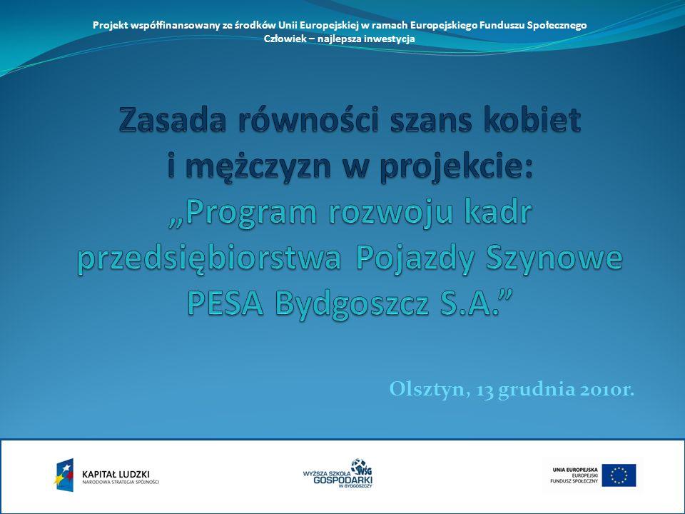 Olsztyn, 13 grudnia 2010r. Projekt współfinansowany ze środków Unii Europejskiej w ramach Europejskiego Funduszu Społecznego Człowiek – najlepsza inwe