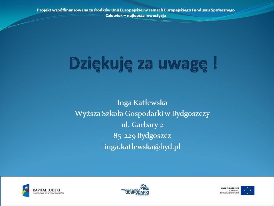 Inga Katlewska Wyższa Szkoła Gospodarki w Bydgoszczy ul. Garbary 2 85-229 Bydgoszcz inga.katlewska@byd.pl Projekt współfinansowany ze środków Unii Eur
