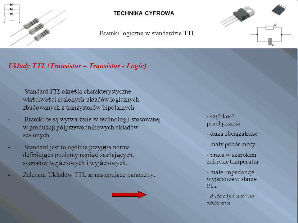 Układy TTL (Transistor – Transistor - Logic) - Standard TTL okre ś la charakterystyczne w ł a ś ciwo ś ci scalonych uk ł adów logicznych zbudowanych z