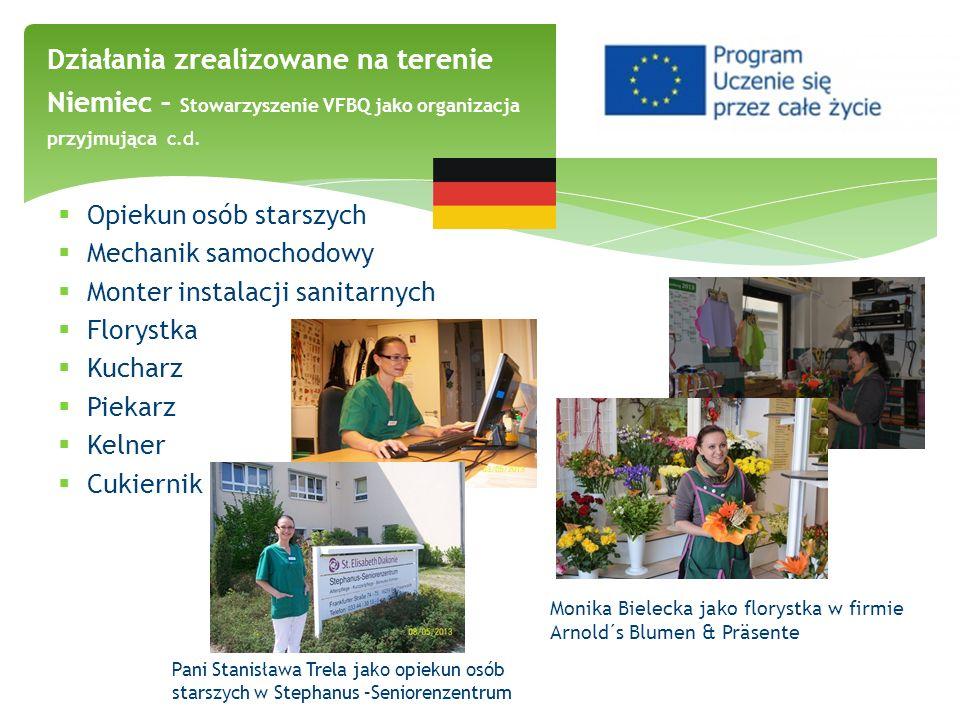 Działania zrealizowane na terenie Niemiec – Stowarzyszenie VFBQ jako organizacja przyjmująca c.d. Opiekun osób starszych Mechanik samochodowy Monter i