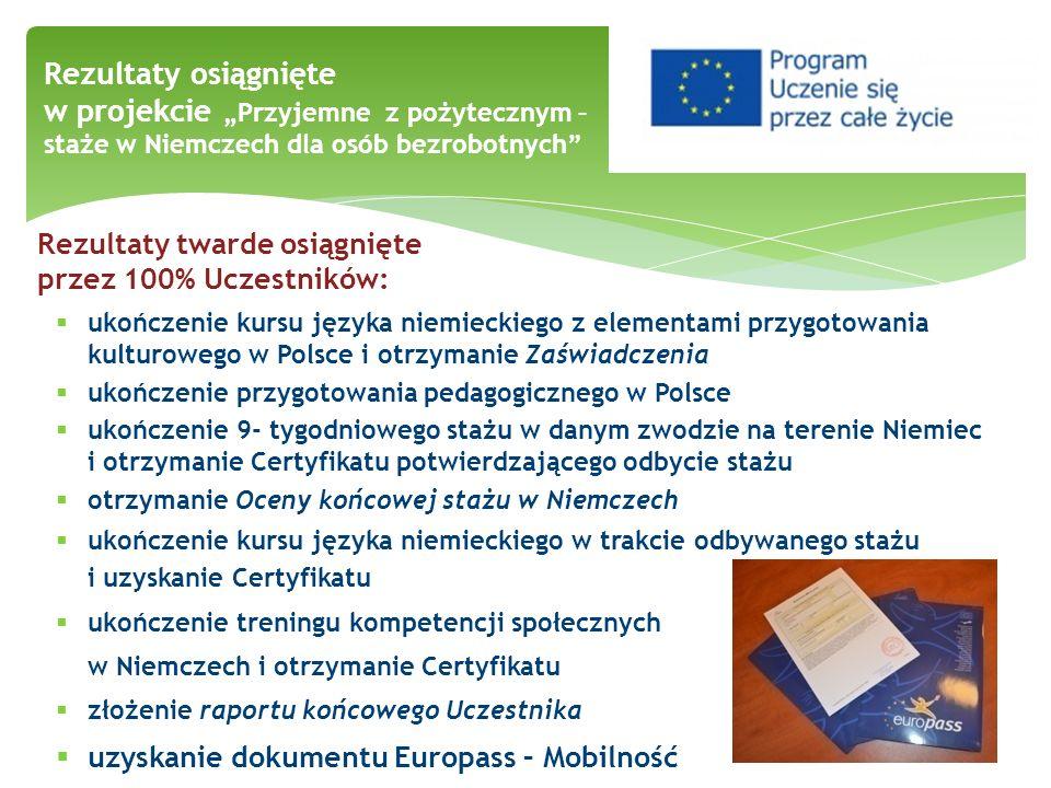 ukończenie kursu języka niemieckiego z elementami przygotowania kulturowego w Polsce i otrzymanie Zaświadczenia ukończenie przygotowania pedagogiczneg