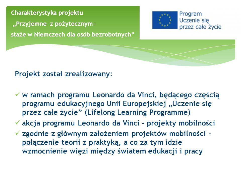 Projekt został zrealizowany: w ramach programu Leonardo da Vinci, będącego częścią programu edukacyjnego Unii Europejskiej Uczenie się przez całe życi