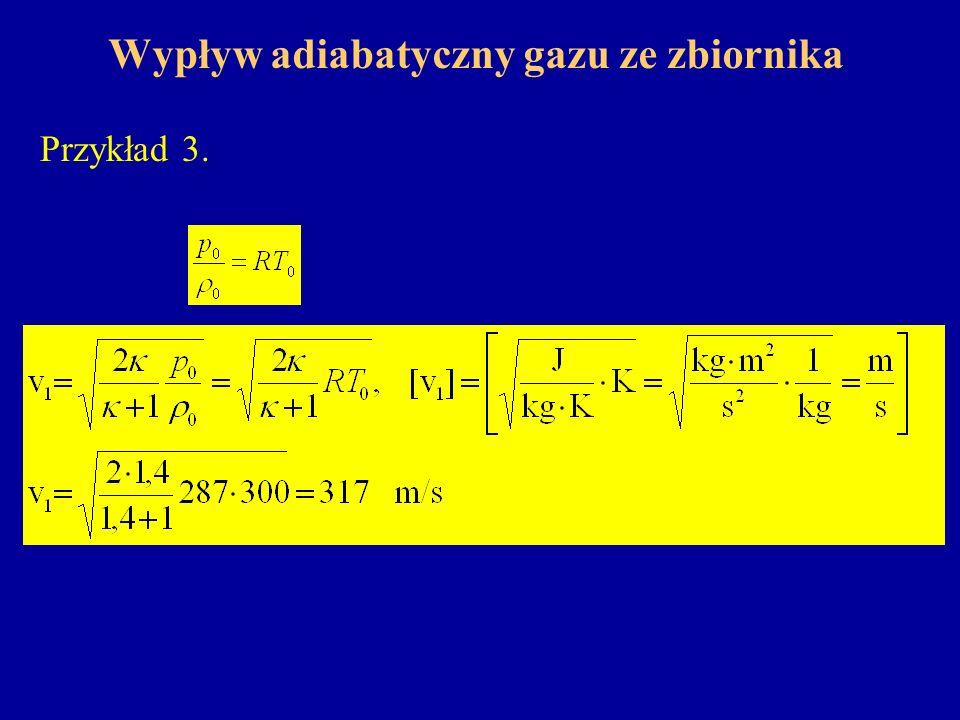 Wypływ adiabatyczny gazu ze zbiornika Przykład 3.