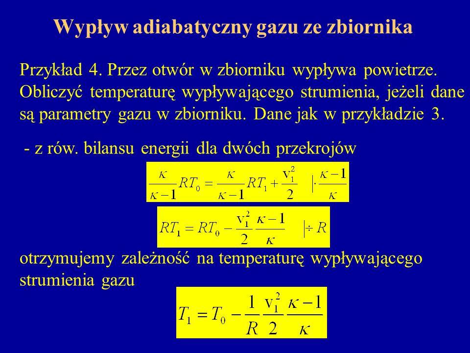 Wypływ adiabatyczny gazu ze zbiornika Przykład 4. Przez otwór w zbiorniku wypływa powietrze. Obliczyć temperaturę wypływającego strumienia, jeżeli dan