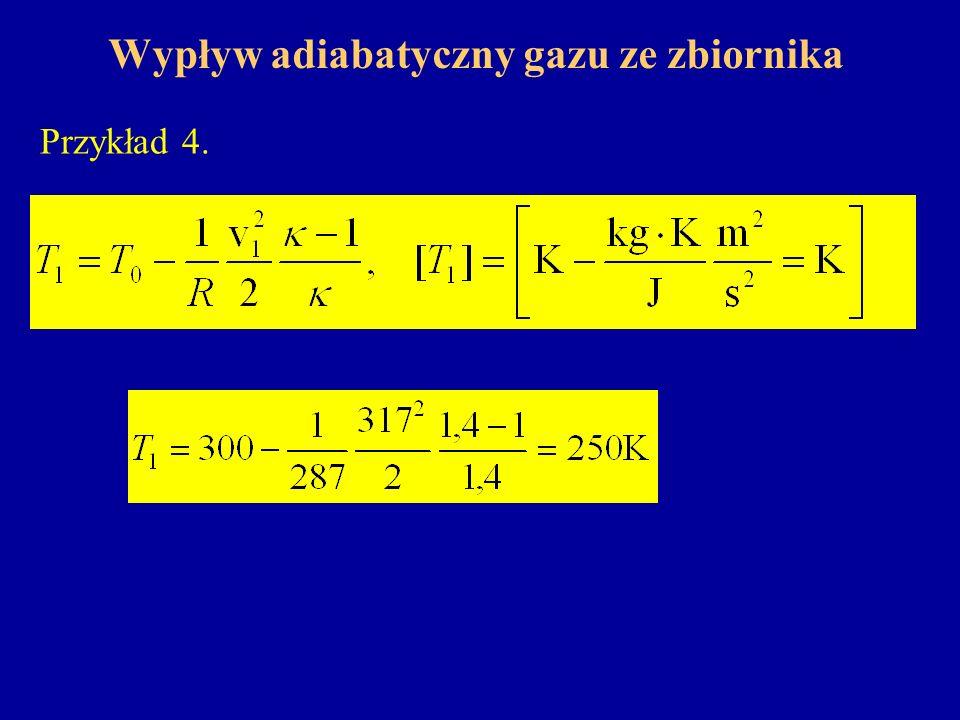 Wypływ adiabatyczny gazu ze zbiornika Przykład 4.