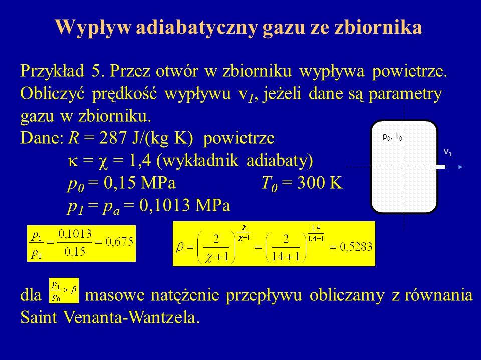 Wypływ adiabatyczny gazu ze zbiornika Przykład 5. Przez otwór w zbiorniku wypływa powietrze. Obliczyć prędkość wypływu v 1, jeżeli dane są parametry g
