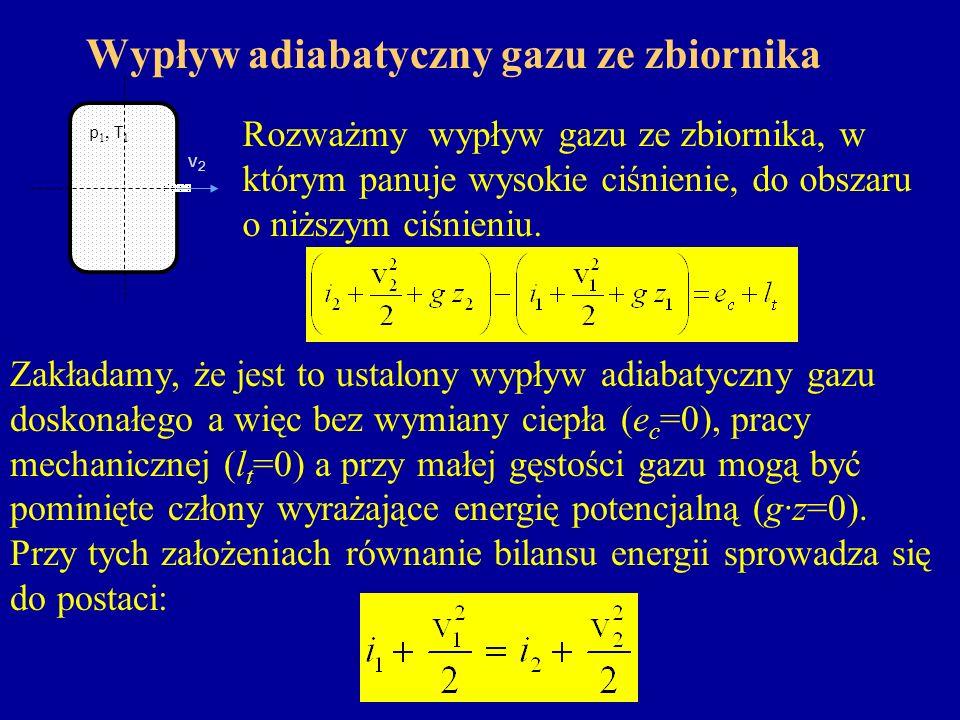 Wypływ adiabatyczny gazu ze zbiornika Różnicę entalpii i 2 – i 1 można zastąpić wyrażeniem, za ciepło właściwe c p podstawiamy zależność oraz, dzięki czemu: Jest to równanie Bernoulliego dla gazów idealnych i przemian adiabatycznych wzdłuż strumienia.
