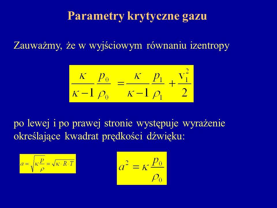 Parametry krytyczne gazu Zauważmy, że w wyjściowym równaniu izentropy po lewej i po prawej stronie występuje wyrażenie określające kwadrat prędkości d