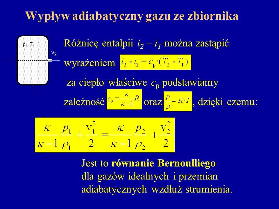 Wypływ adiabatyczny gazu ze zbiornika Różnicę entalpii i 2 – i 1 można zastąpić wyrażeniem, za ciepło właściwe c p podstawiamy zależność oraz, dzięki
