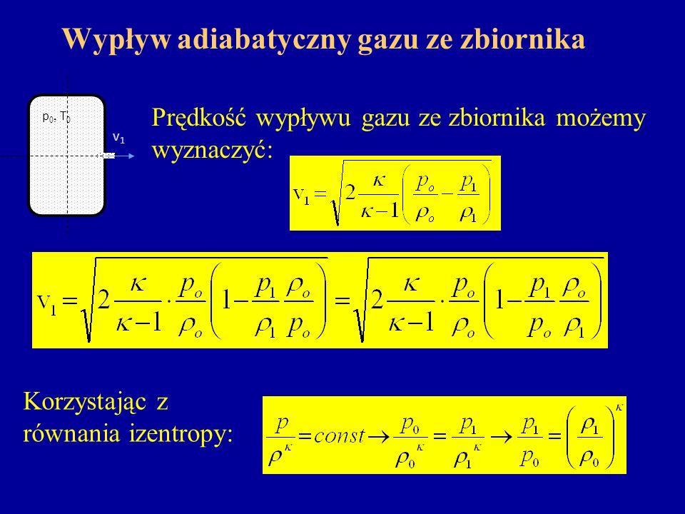 Wypływ adiabatyczny gazu ze zbiornika Prędkość wypływu gazu ze zbiornika możemy wyznaczyć: v1v1 p 0, T 0 Korzystając z równania izentropy: