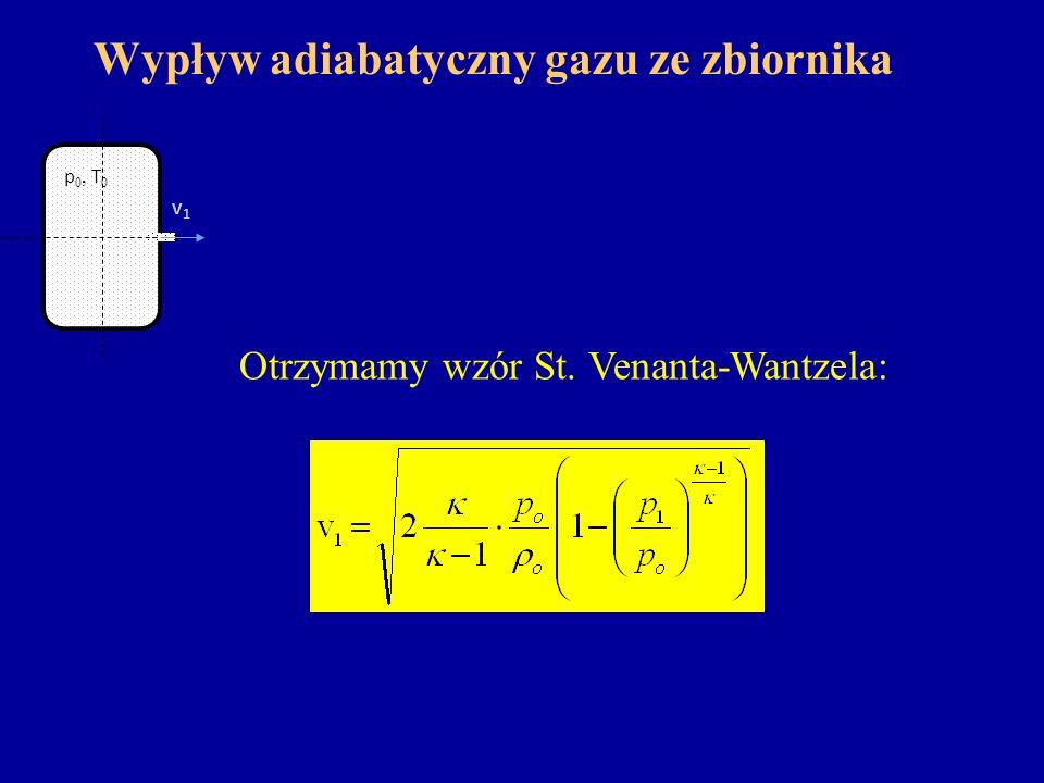 Wypływ adiabatyczny gazu ze zbiornika Otrzymamy wzór St. Venanta-Wantzela: v1v1 p 0, T 0