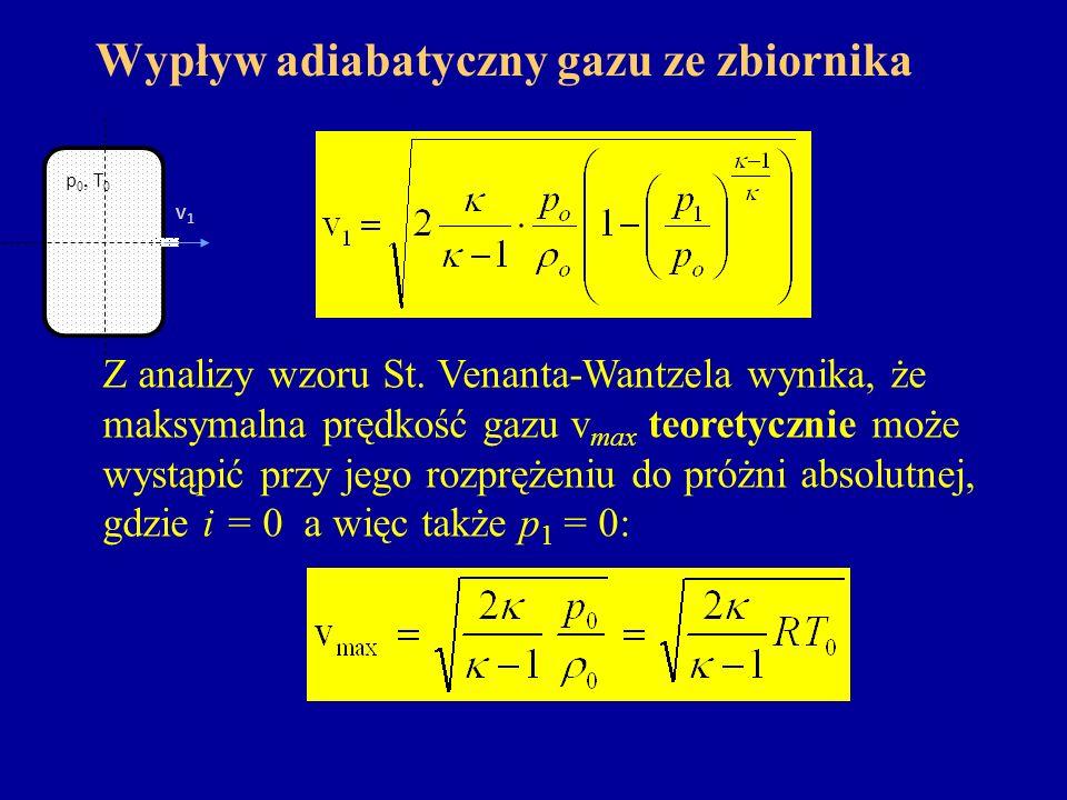 Wypływ adiabatyczny gazu ze zbiornika v1v1 p 0, T 0 Z analizy wzoru St. Venanta-Wantzela wynika, że maksymalna prędkość gazu v max teoretycznie może w