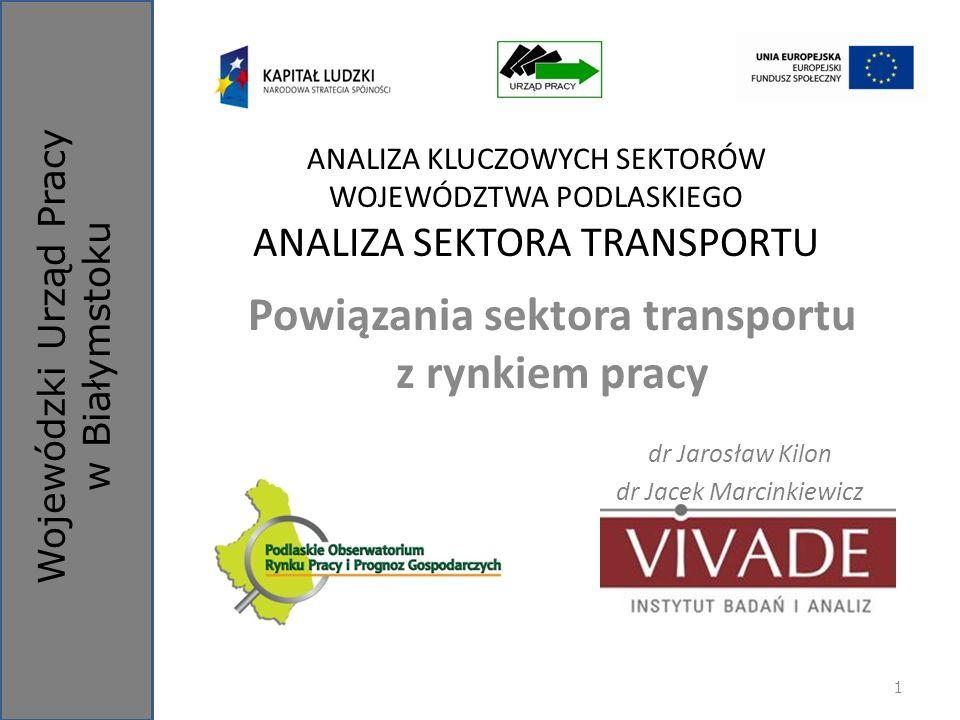Wojewódzki Urząd Pracy w Białymstoku ANALIZA KLUCZOWYCH SEKTORÓW WOJEWÓDZTWA PODLASKIEGO ANALIZA SEKTORA TRANSPORTU Powiązania sektora transportu z ry