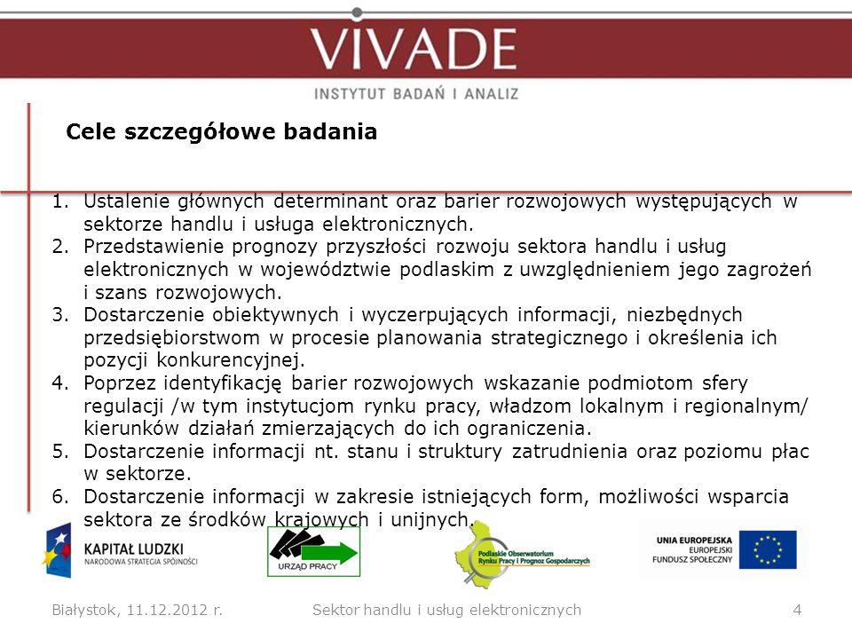 Białystok, 11.12.2012 r.4 Cele szczegółowe badania Sektor handlu i usług elektronicznych 1.Ustalenie głównych determinant oraz barier rozwojowych wyst