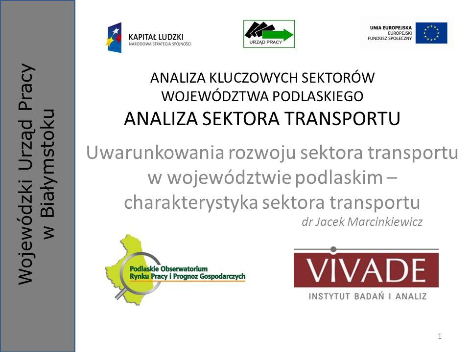 Plan prezentacji Sektor transportu w Polsce Infrastruktura techniczna Transport samochodowy Znaczenie podmiotów należących do poszczególnych działów sekcji H PKD 2007 w województwie podlaskim Białystok, 11.12.2012 r.2Analiza sektora transportu